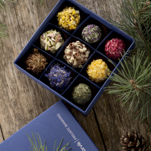 Chocolate truffles selection in handmade gift box